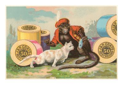 Monkey and Cat with Spools of Thread--Art Print