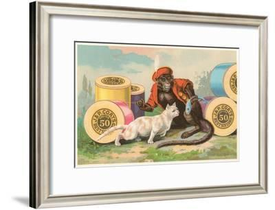 Monkey and Cat with Spools of Thread--Framed Art Print