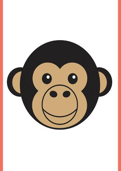 Monkey - Animaru Cartoon Animal Print-Animaru-Giclee Print