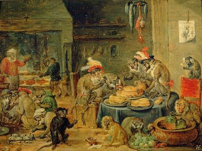 Monkey Banquet, 1810-David Teniers the Younger-Giclee Print