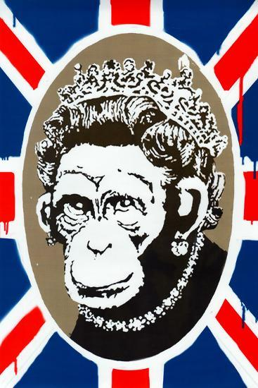 Monkey Queen Union Jack Graffiti--Art Print
