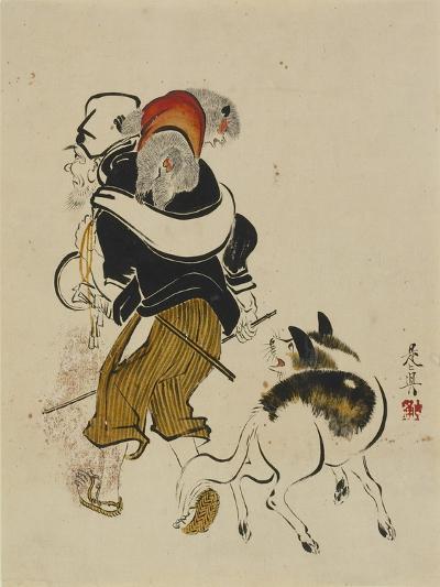 (Monkey Trainer and Dog), Mid to Late 19th Century-Shibata Zeshin-Giclee Print