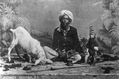 Monkey Trainer, India, 20th Century--Giclee Print
