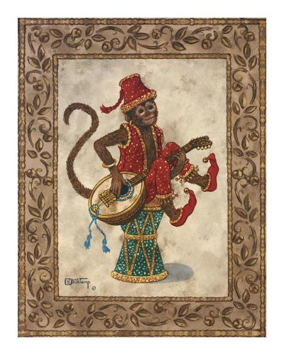 Monkey with Mandolin-Janet Kruskamp-Art Print