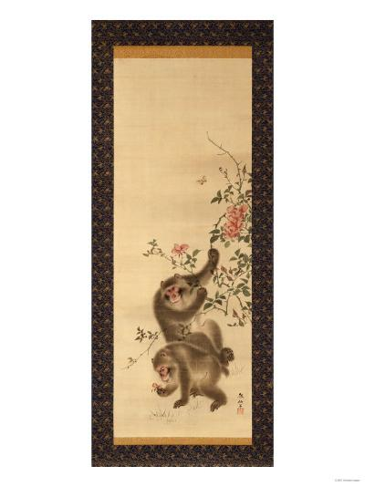 Monkeys and Roses-Hashiguchi Goyo-Giclee Print