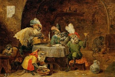 Monkeys Drinking And Smoking, 17th Century-David Teniers the Younger-Giclee Print