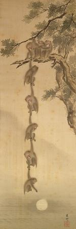 Monkeys Reaching for the Moon, Edo Period (1603-1867)--Giclee Print
