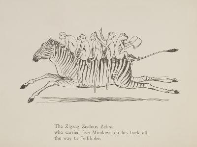 Monkeys Riding a Zebra, Nonsense Botany Animals and Other Poems Written and Drawn by Edward Lear-Edward Lear-Giclee Print