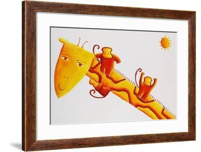 Monkeys Sliding Down Giraffe's Neck, 2002-Julie Nicholls-Framed Giclee Print