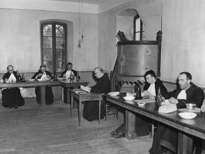 Monks at Dinner in the Refectory, Asile St Leon, France, C1947-1951--Photographic Print