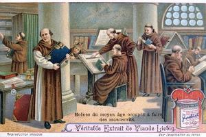 Monks at Work on Manuscripts in a Scriptorium, C1900