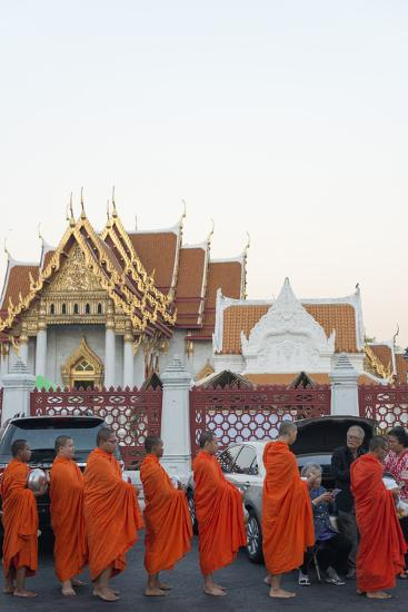 Monks Collecting Morning Alms, the Marble Temple (Wat Benchamabophit), Bangkok, Thailand-Christian Kober-Photographic Print