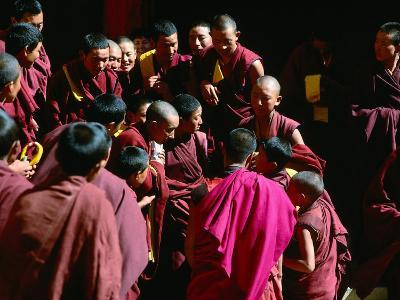 Monks Gathered in Courtyard of Historic Ganden Monastery, Ganden, Tibet-Richard I'Anson-Photographic Print