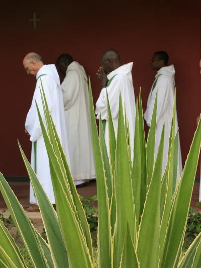 Monks in Keur Moussa Abbey Cloister, Keur Moussa, Senegal, West Africa, Africa-Godong-Photographic Print
