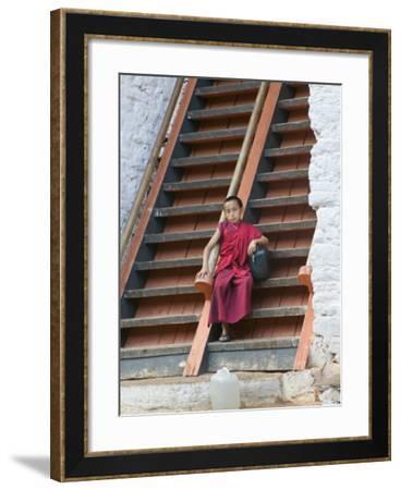 Monks in Punakha Dzong, Punakha, Bhutan-Keren Su-Framed Photographic Print