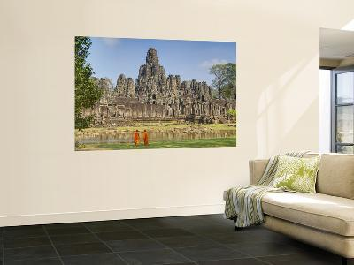 Monks Looking at Bayon Temple, Angkor, Siem Reap, Cambodia--Giant Art Print