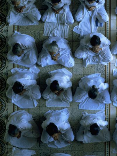 Monks Praying, Cao Dai Temple, Tay Ninh, Vietnam-Shmuel Thaler-Photographic Print
