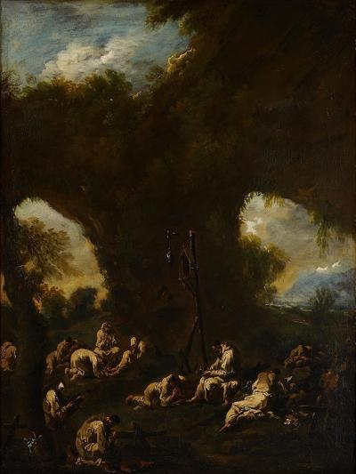 Monks Praying in a Grotto, C.1730-Alessandro Magnasco-Giclee Print