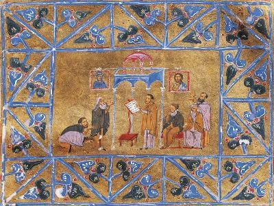 Monks Praying in Church, Miniature from Byzantine Manuscript, Greek Code 418 Folio 269--Giclee Print
