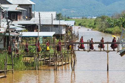 Monks Walking on the Bridge, Inle Lake, Shan State, Myanmar-Keren Su-Photographic Print