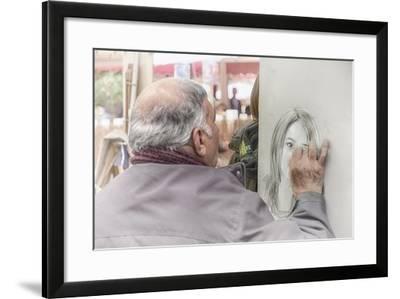 Monmartre Artist Working On Place du Tertre V-Cora Niele-Framed Giclee Print