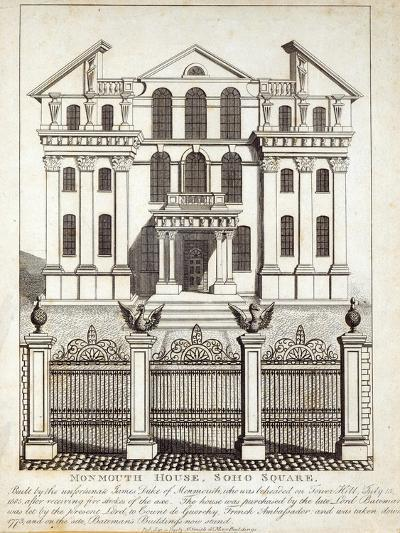 Monmouth House, Soho Square, published by N. Smith, Gt Mays Buildings, 11th January 1791--Giclee Print