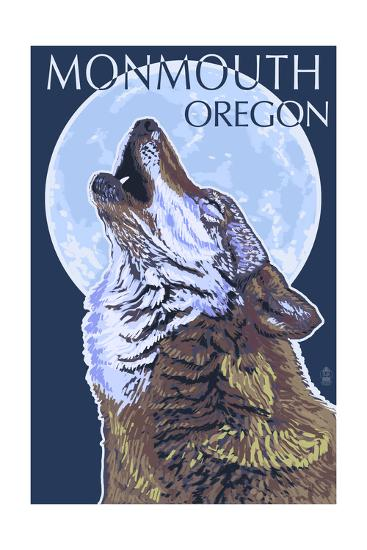 Monmouth, Oregon - Wolf Howling at Moon-Lantern Press-Art Print