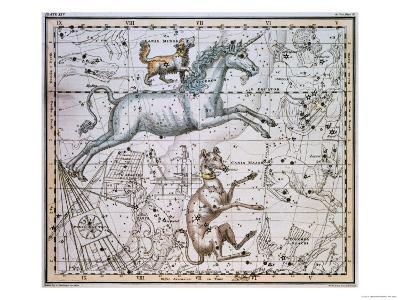 """Monoceros, from """"A Celestial Atlas,"""" Published in 1822-A^ Jamieson-Giclee Print"""