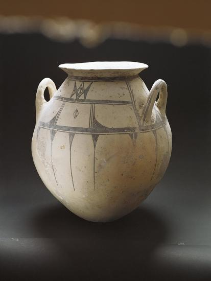 Monochrome Earthenware Pot Decorated with Geometric Patterns--Giclee Print