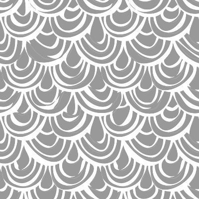 Monochrome Scallop Scales-Sharon Turner-Art Print