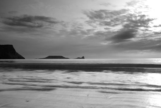 Monochrome Seascape, Rhossili, Gower, Wales.-Swellphotography UK-Photographic Print