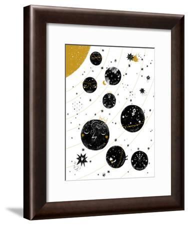 Monochrome Solar System-Elena David-Framed Art Print