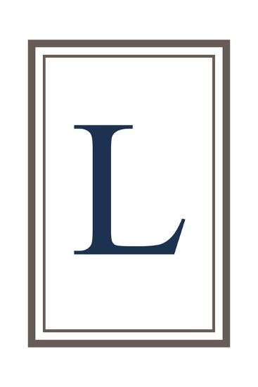 Monogram - Estate - Gray and Blue - L-Lantern Press-Art Print
