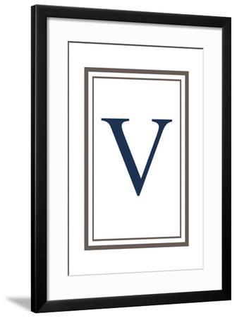 Monogram - Estate - Gray and Blue - V-Lantern Press-Framed Art Print