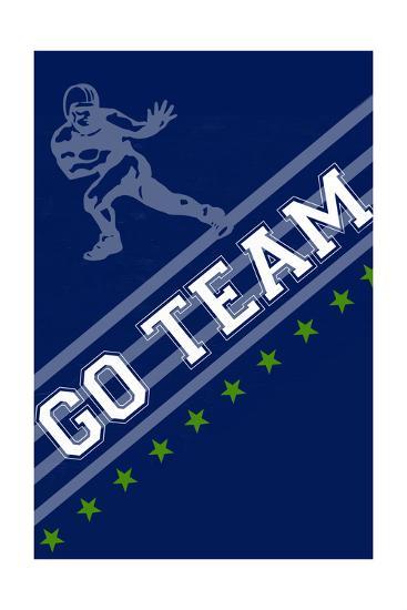 Monogram - Game Day - Blue and Green - Go Team-Lantern Press-Art Print
