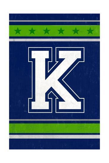Monogram - Game Day - Blue and Green - K-Lantern Press-Art Print