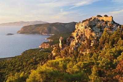 Monolithos Castle and Aegean Sea, Rhodes, Dodecanese, Greek Islands, Greece, Europe-Jochen Schlenker-Photographic Print
