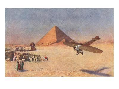 Monoplane Landing by Pyramid and Sphinx--Art Print