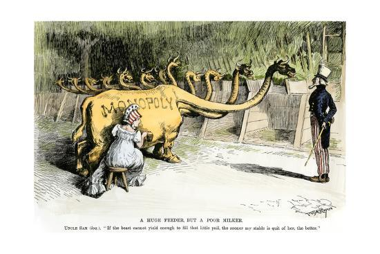"Monopoly Dragon, ""a Huge Feeder, But a Poor Milker,"" 1887 Cartoon Favoring Antitrust Legislation--Photographic Print"