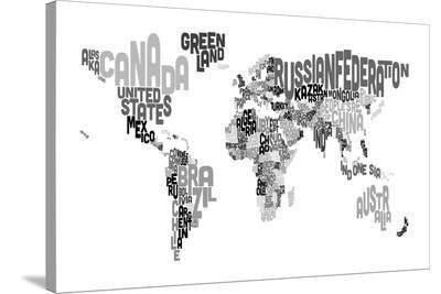 Monotone Text Map of the World-Michael Tompsett-Stretched Canvas Print