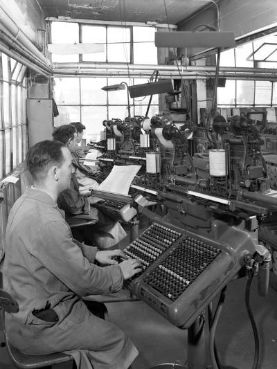 Monotype Keyboards in Operation at a Printing Company, Mexborough, South Yorkshire, 1959-Michael Walters-Photographic Print