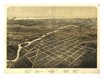 Monroe, Michigan - Panoramic Map-Lantern Press-Art Print