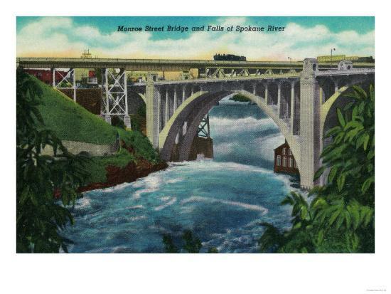 Monroe Street Bridge and Falls on Spokane River - Spokane, WA-Lantern Press-Art Print