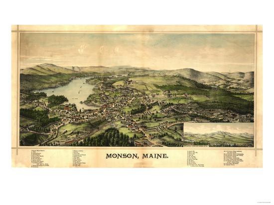 Monson, Maine - Panoramic Map-Lantern Press-Art Print