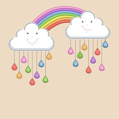 Monsoon Season Background with Happy Clouds, Rainbow and Colorful Water Drops. Kiddish Concept.-Allies Interactive-Art Print