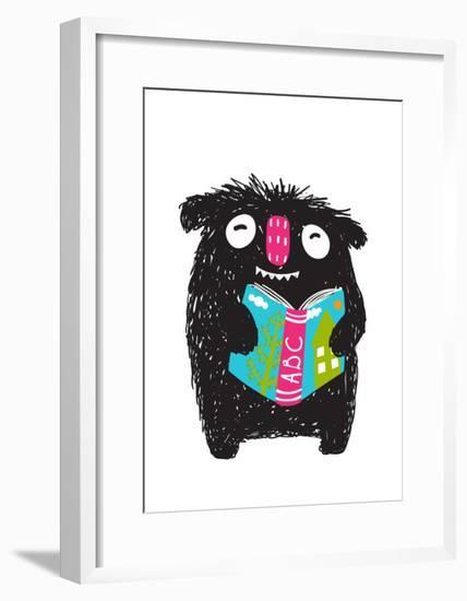 Monster Reading ABC Book Cartoon for Kids. Happy Funny Little Monster Education and Reading Picture-Popmarleo-Framed Art Print