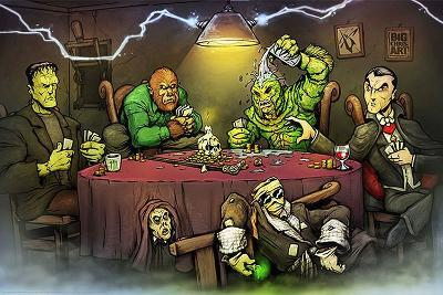 Monsters Playing Poker-Big Chris Art-Art Print
