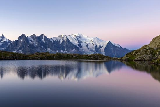 Mont Blanc Reflected During Twilight in Lac Des Cheserys, Haute Savoie, French Alps, France-Roberto Moiola-Photographic Print