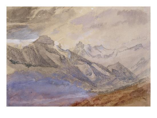 Mont Dauphiny, Near Chartreuse (W/C and Pencil on Paper)-John Ruskin-Giclee Print