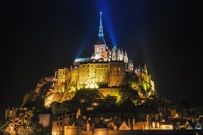 Mont Saint-Michel Illuminated at Night, Normandy, France-Russ Bishop-Photographic Print